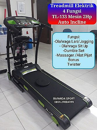 Treadmill Elektrik 4 Fungsi TL-133 Mesin 2Hp Auto Incline